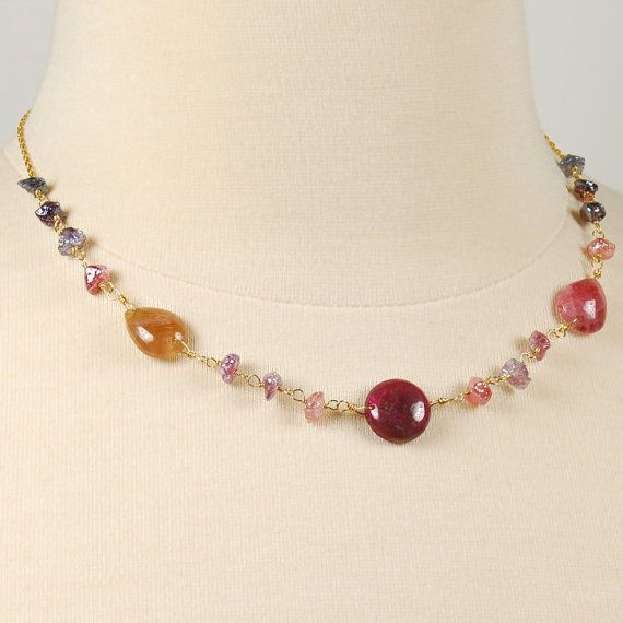 Tourmaline and Spinel Wire Wrapped Choker. Gemstone by agusha