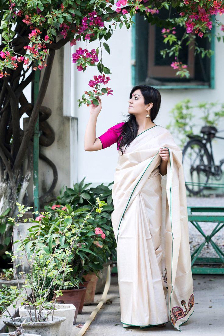 Tussar silk hand embroidered sari