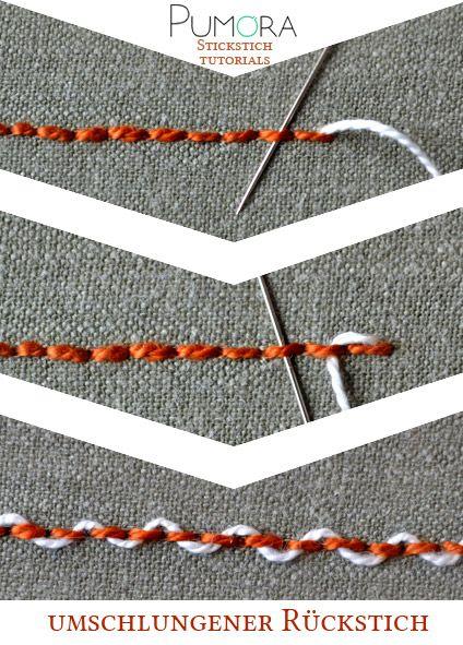 Pumora's Stichlexikon: umschlungener Rückstich; threaded back stitch (EN); point de piqûre rebrodé/orné/entrelacé (FR) punto pespunte entrelazados (ES)