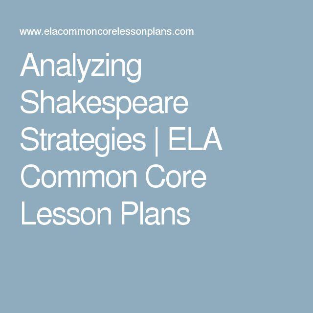 Analyzing Shakespeare Strategies | ELA Common Core Lesson Plans