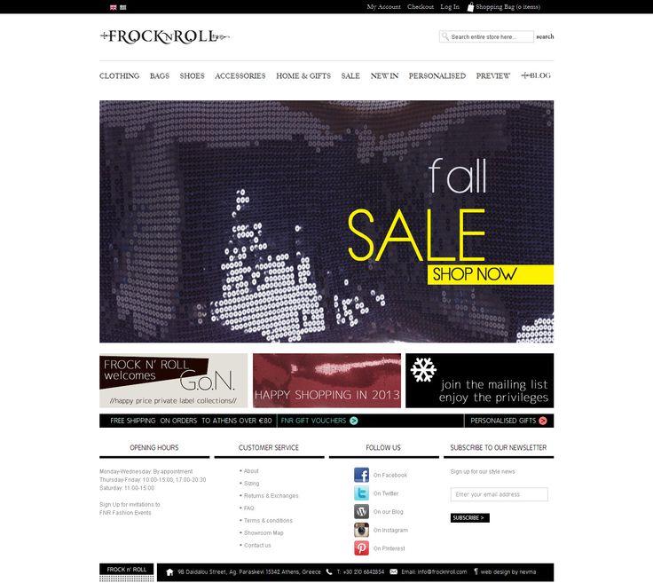 Η Nevma ολοκληρώνει την κατασκευή της ιστοσελίδας frocknroll.com. Το frocknroll.com είναι ένα ηλεκτρονικό κατάστημα που ασχολείται με τη μόδα σε όλους τους τομείς της από είδη ρουχισμού και αξεσουάρ για όλες τις ηλικίες μέχρι ήδη σπιτιού και πρωτότυπα δώρα.  http://www.frocknroll.com
