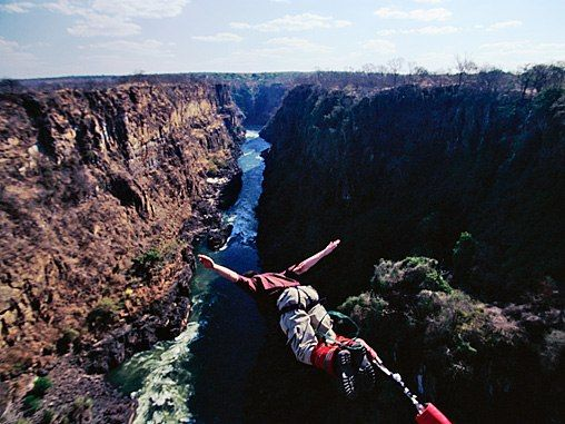 I love the color contrasts here. Makes jumping off a cliff almost worth it. The Scariest and Most Thrilling Bungee Jumps : Condé Nast Traveler