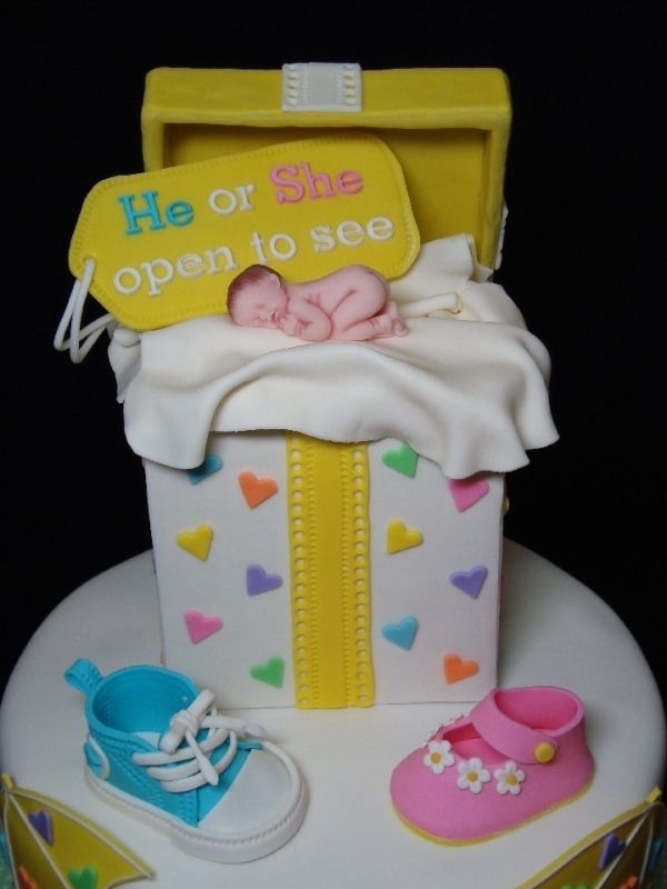 The cake is colored blue or pink to announce what the sex of the baby is.
