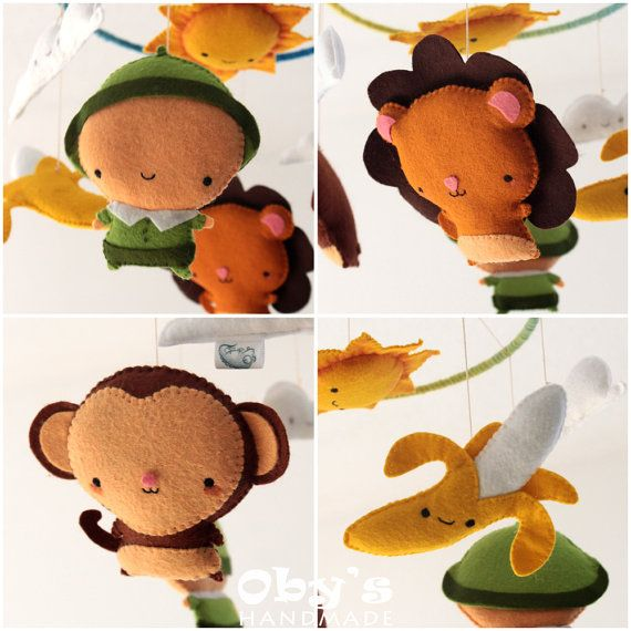 Baby Mobile Savanna Crib Mobile Lion Monkey by Obyshandmade