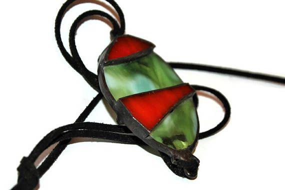 glas hanger ketting Tiffany glas ketting driehoek ketting