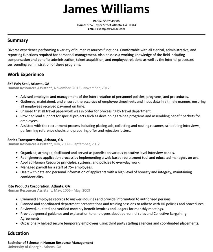 Human resources assistant resume example human resources