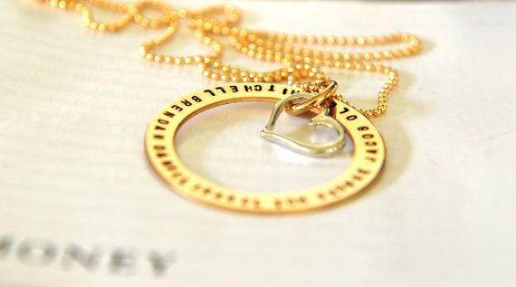 Hand Stamped Gold Washer Necklace Personalized by SevenBlueberries