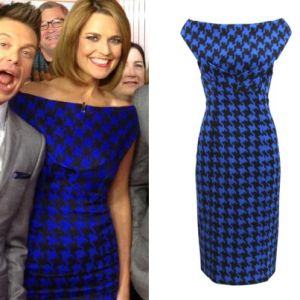 Where did Savannah Guthrie get her blue dogtooth print dress from on The Today Show 7/01/14? - Style on Screen