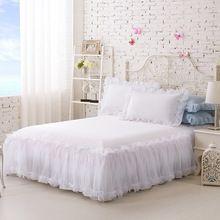 100% Katoen Effen Kleur Kant Luxe Beddengoed Sets Kingsize Queen Bed Sets Voor Meisje Laken Set Kussensloop Wit Bed rok(China (Mainland))