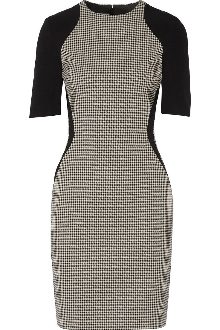 Stella McCartney Crepe-trimmed cotton-blend black and white houndstooth dress, office attire