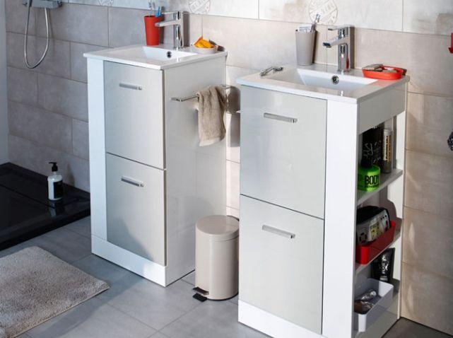 39 best new salle de bain images on Pinterest Bathrooms, Bathroom - petit meuble salle de bain pas cher