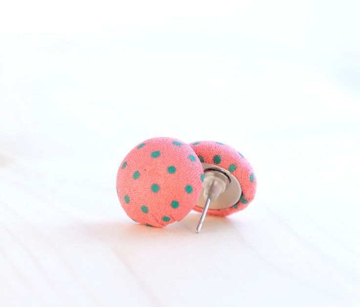 Salmon pink earrings ~ Polka dot jewelry ~ Cute earrings for girls ~ Stainless steel earrings ~ Fabric earrings ~ Cool gifts for teens ~ Exclusively at http://BrickandButton.Etsy.com