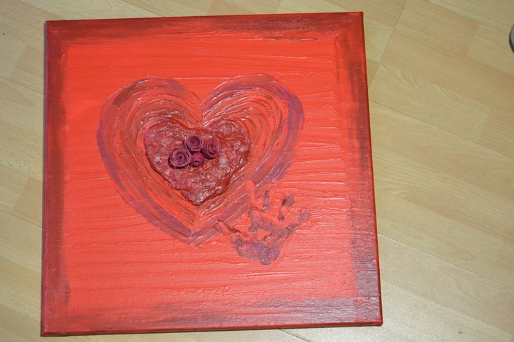 2013 Valentijn schilderij Hart & roosjes uit klei