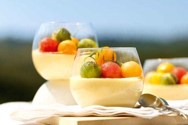Coconut bavarois with kaffir lime fruit salad. #food #summer #fruit #desserts