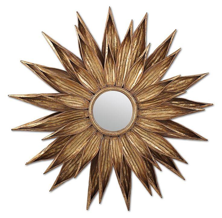 Sunflower Antique Gold Wall Mirror