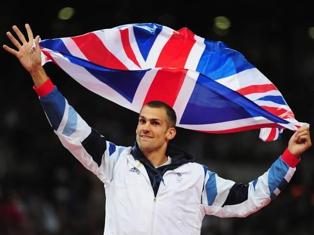 Robbie Grabarz of Great Britain celebrates winning bronze in the Men's High