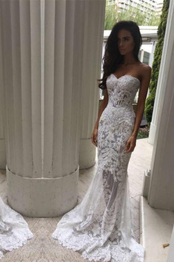 Custom Made Magnificent Wedding Dresses For Cheap, Lace Wedding Dresses, Mermaid Wedding Dresses