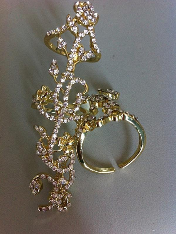 Klasické Chain dva prsteny Gold nerezové