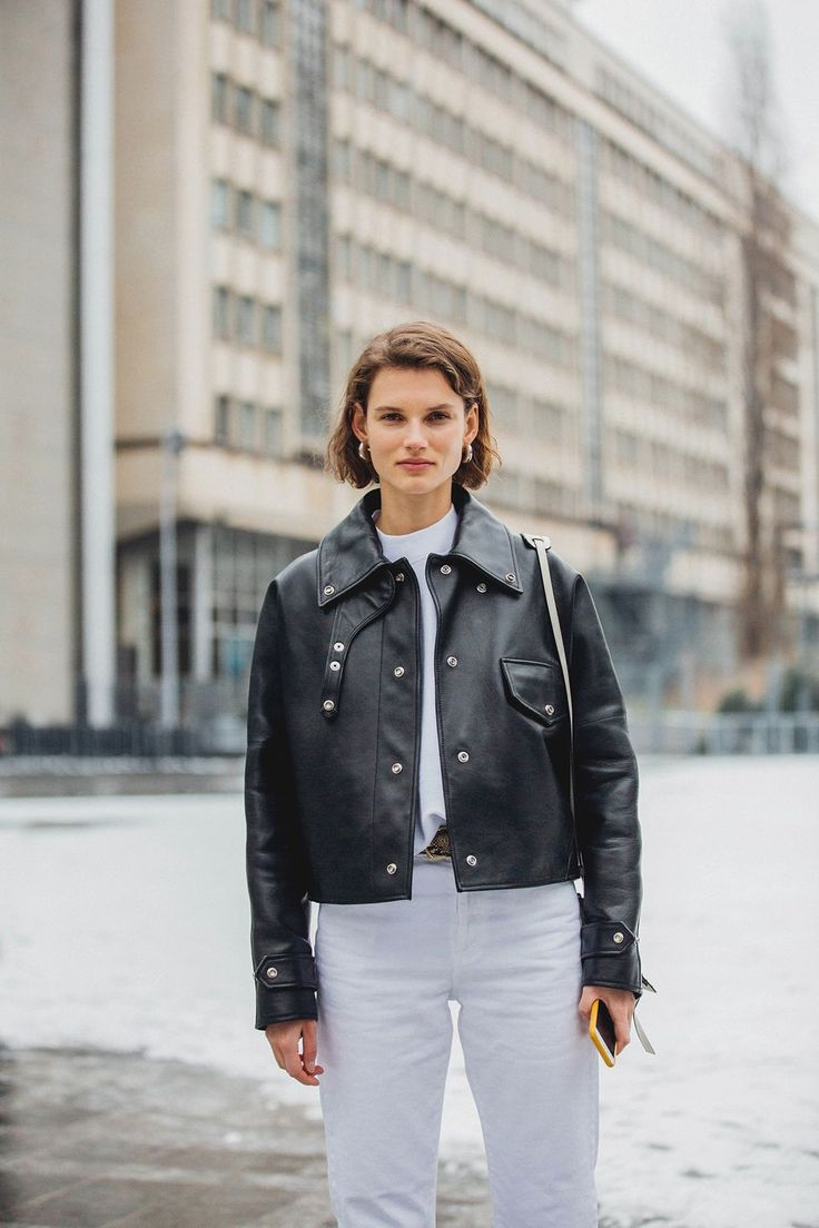 black and white outfit, white jeans, leather jacket, winter