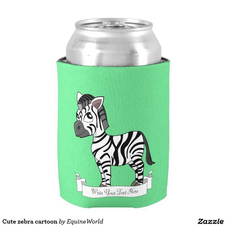 Cute zebra cartoon can cooler