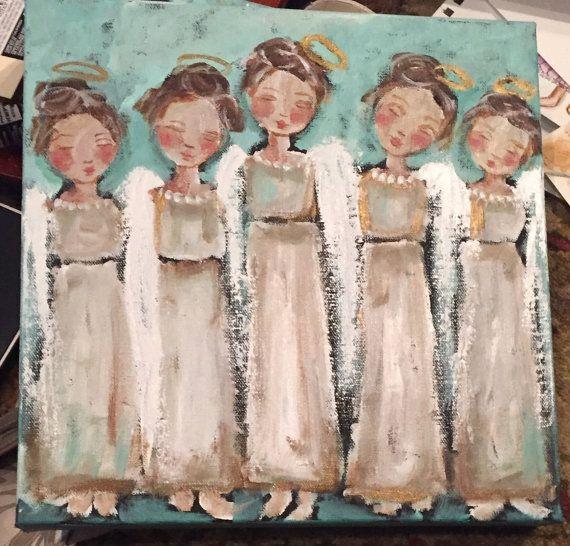 Original painting on wood canvas angel chorus by JaneLazenbyartist