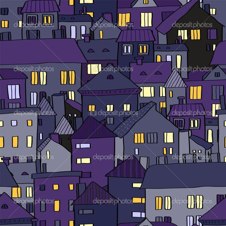 Панорама вид Старый город ночью в фиолетовый бесшовный фон, вектор
