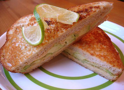 Pressed Avocado, Hummus, and Cucumber Sandwich