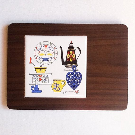 1970s Vintage Tile and Wood Cheese Board by PrettyHappyVintage