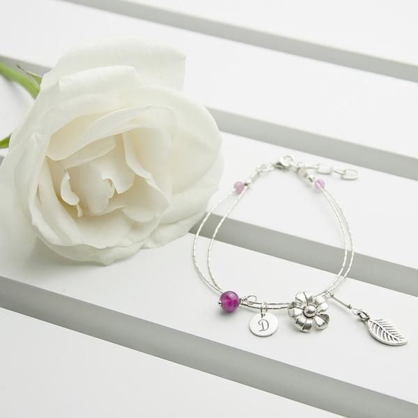 Sterling Silver Personalised 'Forget Me Not' Bracelet - Indian Ruby