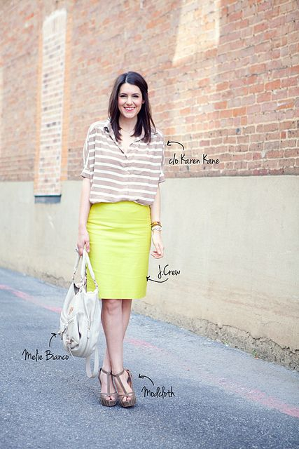 LOVE the mix of slouchy blouse tucked into perfectly fitted pencil skirt