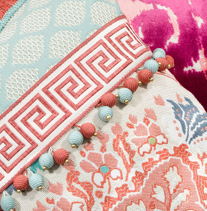 Robert Allen Coral Reef and Water fabric and trim. Product Details: Greek Key Braid in Coral Reef, Modern Bead in Coral Reef and Modern Bead in Water | Photo credit: @TrimQueen