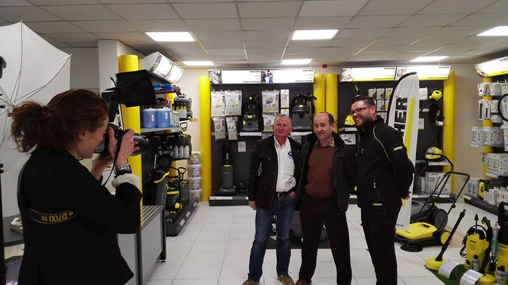 Some of our customers happy to have their photo taken by the press team during the opening of the new Karcher centre at Craigmore in Portadown