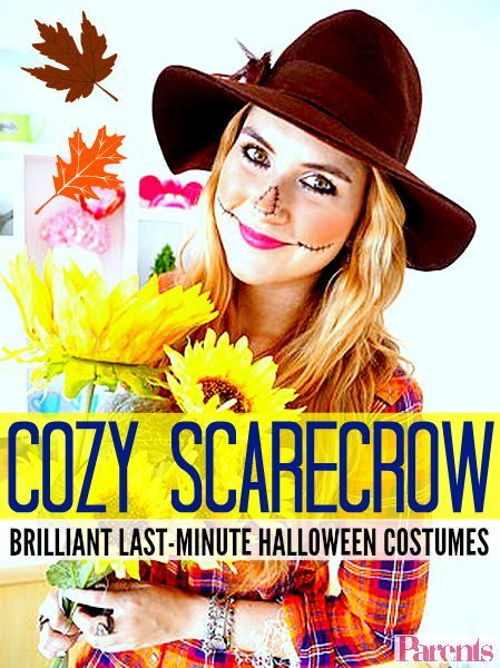 """What could be cuter and more cozy than this scarecrow costume? And the best part of it all is that you can make it entirely with pieces you already have in your closet."" - Marie McGrath, author of the blog The Joy of Fashion #Halloween #HalloweenDIY #HalloweenCostumeIdea"