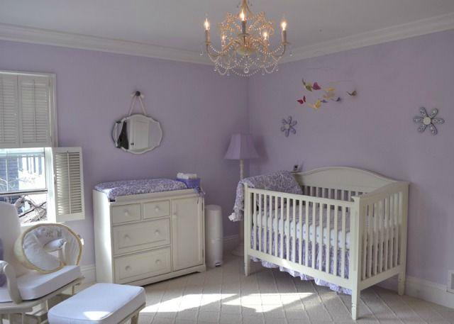 Love the simple elegance of this lavender nursery! #nursery