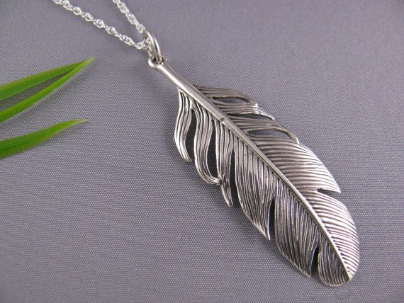 Sterling Silver Feather necklace  high detail feather by MonyArt, $49.80