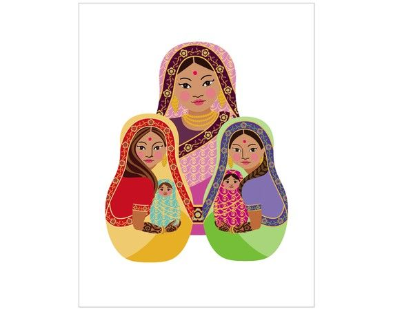 This is my Indian Matryoshka (aka- babushka, nesting doll, Russian doll, stacking doll) print celebrating mothers and daughters. Also celebrating