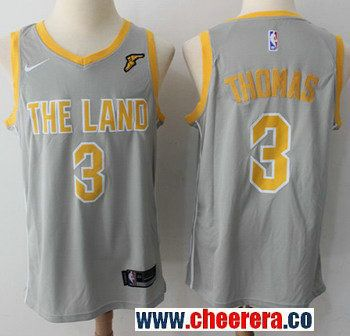 c53c059b1 Men s Nike Cleveland Cavaliers  3 Isaiah Thomas Gray NBA Swingman City  Edition Jersey