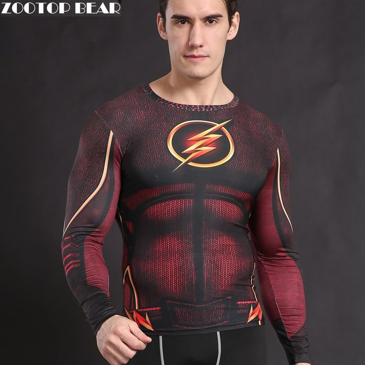 The Flash T shirt  Compression Tights Shirt Crossfit Clothing Fitness Costume Superhero T-shirt Top Justice League ZOOTOP BEAR #shoes, #jewelry, #women, #men, #hats, #watches, #belts