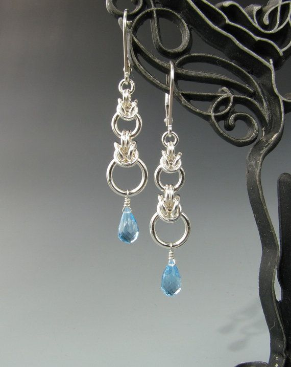 Graduated Byzantine Drop Chainmaille Earrings with Blue Topaz via Etsy