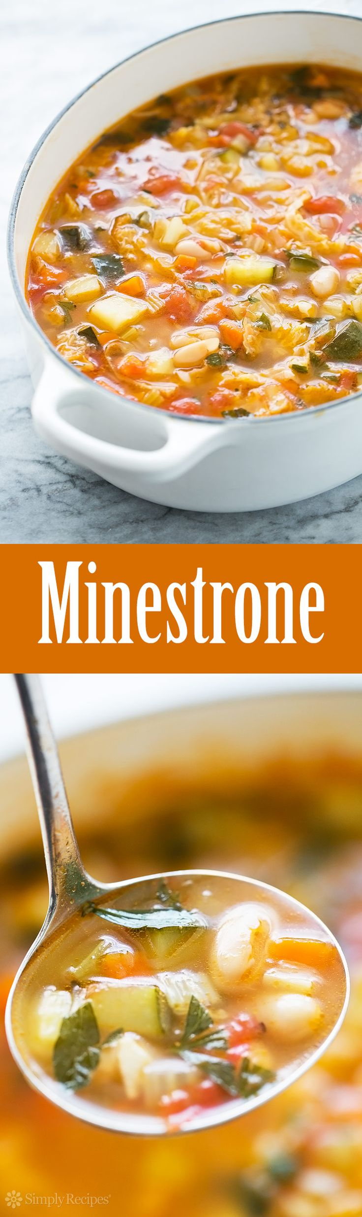 Minestrone Soup ~ Minestrone soup with cannellini beans, chicken stock, cabbage, potato, zucchini, carrots, plum tomatoes, and Parmesan cheese. ~ SimplyRecipes.com