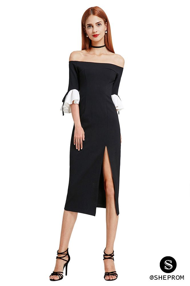 9b80305713f2 Sexy Black and White Off Shoulder Midi Little Black Dress -  56 ...