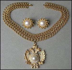 NETTIE ROSENSTEIN Double Headed Eagle HERALDIC Necklace/ Earrings | eBay