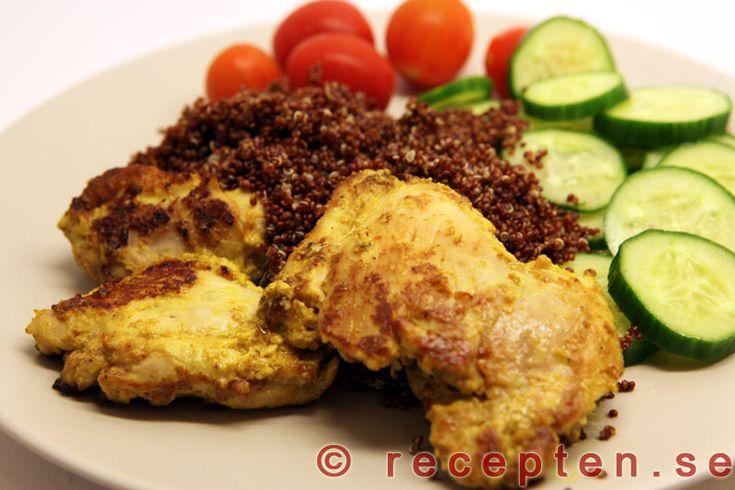 Indisk kyckling - Recept på otroligt god kyckling kryddad på indiskt vis! Enkelt att göra, endast 15 min jobb!