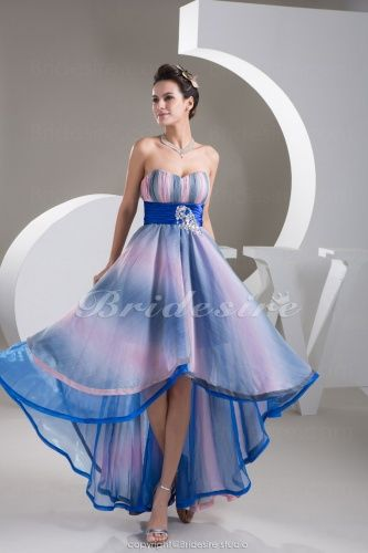 A-line Sweetheart Asymmetrical Sleeveless Stretch Satin Chiffon Dress - $98.99---they can do custom colors
