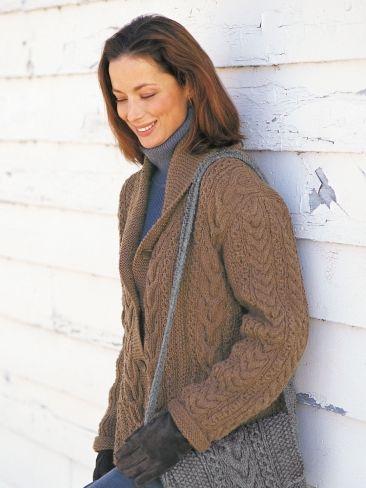Garter and Cables Jacket | Yarn | Free Knitting Patterns | Crochet Patterns | Yarnspirations. Patons. Free