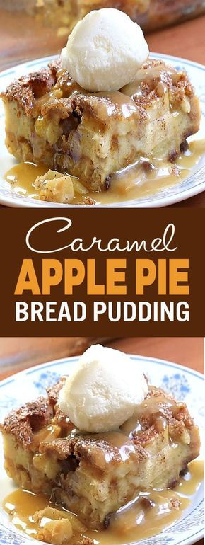 CARAMEL APPLE PIE BREAD PUDDING! Oh my! You combined apple pie and bread pudding?! It looks and sounds incredible! Perfect for dessert, or even breakfast!