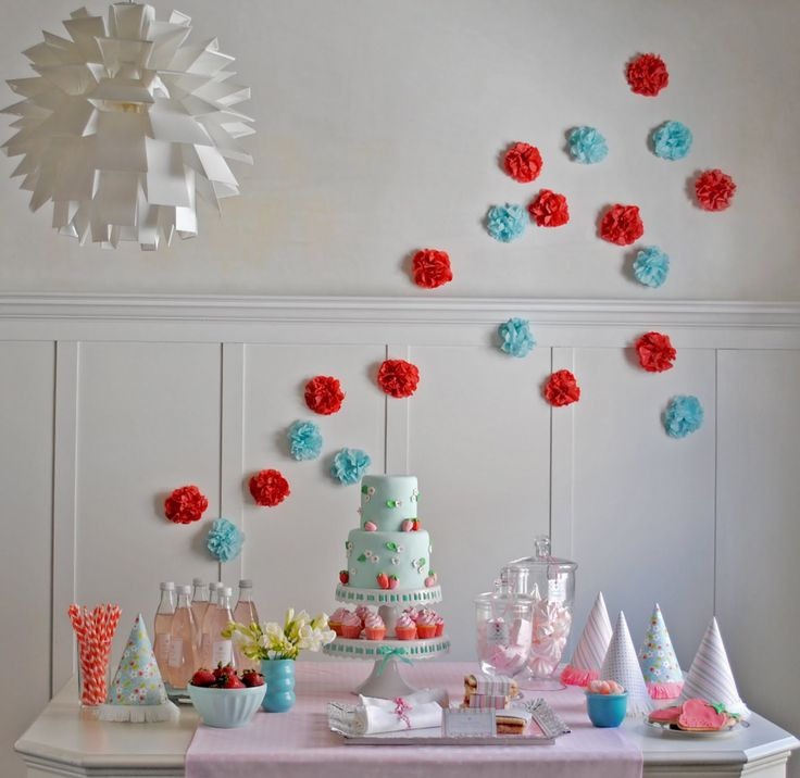 blue-red-strawberry-birthday-party-tissue-paper-pom-poms