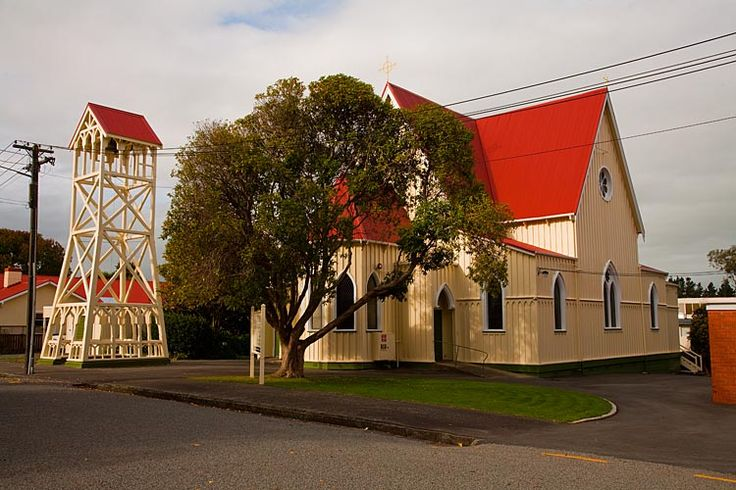 Church with a climbing frame at Marton, see more at New Zealand Journeys app for iPad www.gopix.co.nz