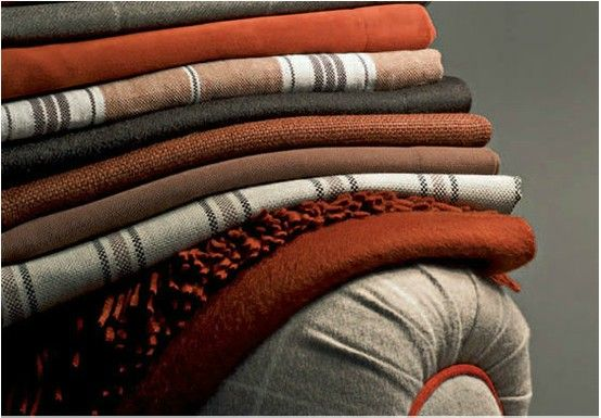 This fabrics in 100% cashmere or wool and cashmere blends come in a wide assortment of patterns, solid colors, stripes and checks, designed to mix and match. Available at Co van der Horst