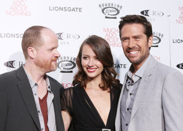Amy Acker, Alexis Denisof and Joss Whedon at event of Much Ado About Nothing